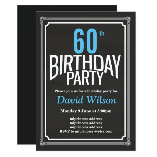 Birthday Party invitation, chalkboard background Card