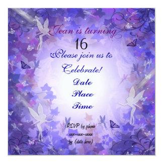 Birthday Party Invitation Fairy purple