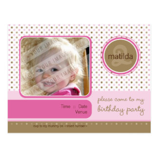 BIRTHDAY PARTY INVITATION :: fizz - girl Postcard