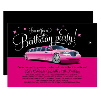 Birthday Party Invitation | Pink Limousine