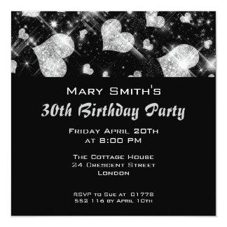 Birthday Party Invitation Silver Glitter Hearts