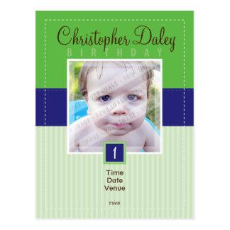 BIRTHDAY PARTY INVITATION :: stitched - boy1 Postcard