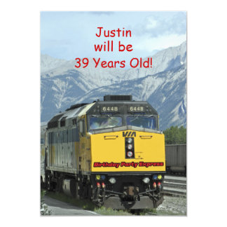 Birthday Party Invitation, Two-Sided, Yellow Train Card