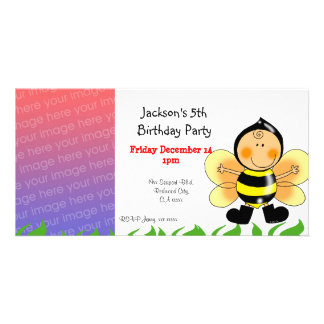 Birthday party invitations ( bee costume ) photo greeting card