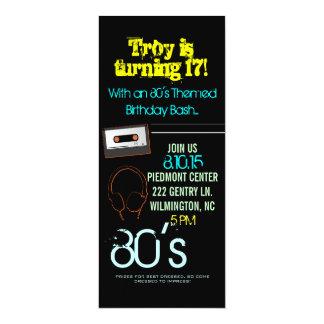Birthday Party Invite   80's Theme II  him-black