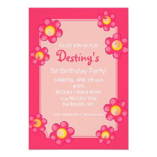 Birthday Party Invite | Cute Flower |pnk