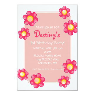 "Birthday Party Invite | Cute Flower |whi 3.5"" X 5"" Invitation Card"