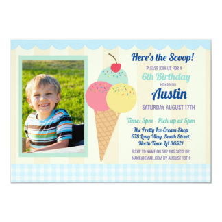 Birthday Party Invite Ice Cream Boy's Photo Blue