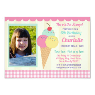 Birthday Party Invite Ice Cream Photo Pink Parlour