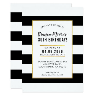 BIRTHDAY PARTY INVITE modern minimal black stripe