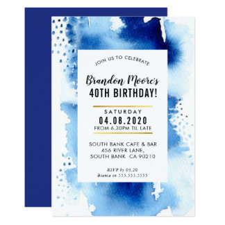 BIRTHDAY PARTY INVITE modern watercolor cool blue