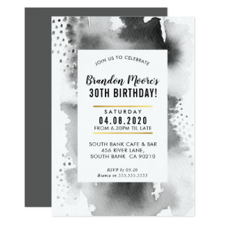 BIRTHDAY PARTY INVITE modern watercolor gray