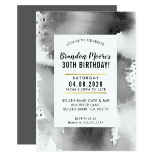 BIRTHDAY PARTY INVITE modern watercolor manly gray