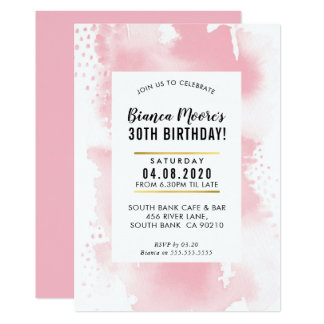 BIRTHDAY PARTY INVITE modern watercolor pale pink