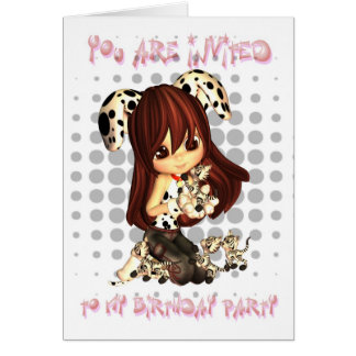 Birthday Party Invitsation - Cute Little Girl Greeting Card