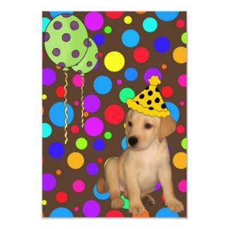 "Birthday Party Labrador Puppy Spots Balloons 2 3.5"" X 5"" Invitation Card"