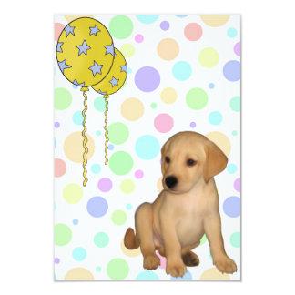 "Birthday Party Labrador Puppy Spots Balloons 3 3.5"" X 5"" Invitation Card"