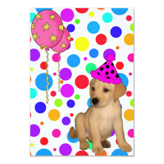 Birthday Party Labrador Puppy Spots Balloons 3.5x5 Paper Invitation Card