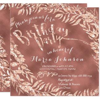 Birthday Party Leaf Wreath Skinny Stars Rose Gold Card