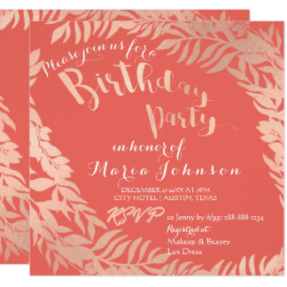 Birthday Party Leafs Wrath Pink Rose Gold Coral Card