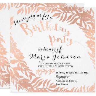 Birthday Party Leafs Wrath Pink White Rose Gold Card
