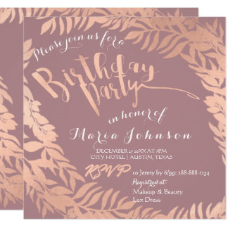 Birthday Party  Leafs Wreath Skinny Pink Rose Gold Card