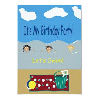 Birthday Party Let's Swim Card