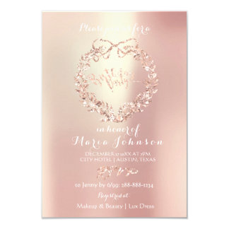 Birthday Party Lux Floral Wreath Pearl Pink Rose Card