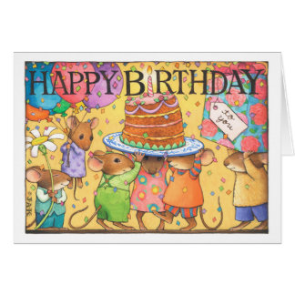 Birthday party mice card