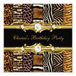 "Birthday Party Mixed Animal Prints Gold Black 5.25"" Square Invitation Card"