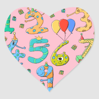 Birthday Party Numbers, on Pink. Heart Stickers