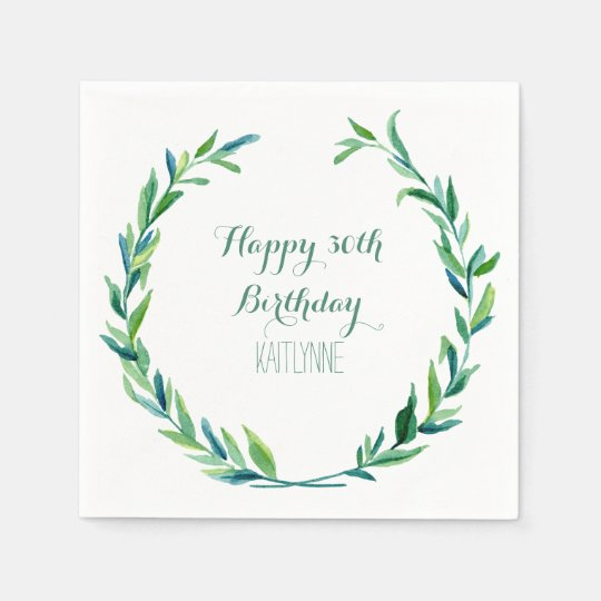 Birthday Party Olive Leaf Laurel Wreath Modern Disposable Napkin