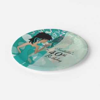 Birthday Party  - Party Girl Teal Paper Plate