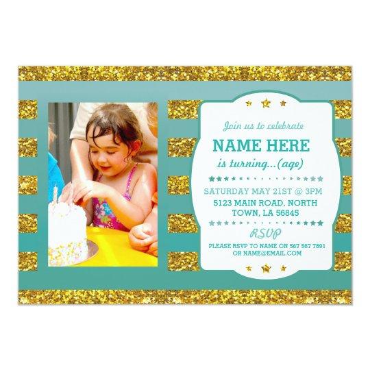 Birthday Party Photo Gold Glitter Stripe Invite