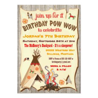 Birthday Party Pow Wow Teepee Invitations