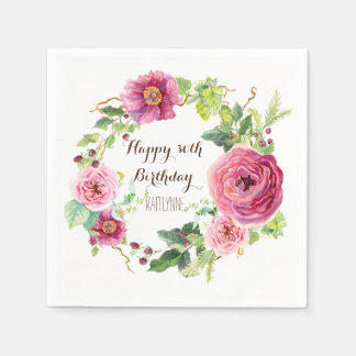 Birthday Party Pretty Pink Roses Wreath Modern Paper Napkin