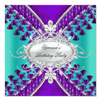 Birthday Party Purple Teal Blue Diamond Beads Card