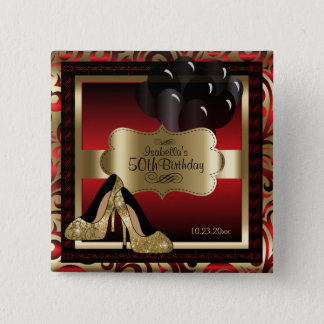 Birthday Party | Red and Gold 2 Inch Square Button