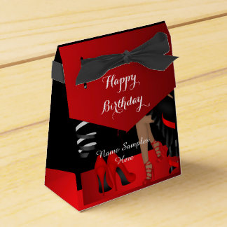 Birthday Party Red Black Shoe High Heels Favour Favor Box