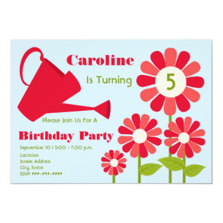 "Birthday Party - Red Flower Garden & Watering Can 5"" X 7"" Invitation Card"