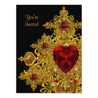 """Birthday Party Rich Red Ornate Gold Jewel Galore 6.5"""" X 8.75"""" Invitation Card"""