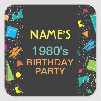 Birthday Party Stickers 1980's 80's Eighties Label