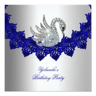 "Birthday Party Swan Blue Silver 5.25"" Square Invitation Card"