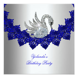 Birthday Party Swan Blue Silver Card