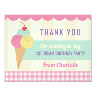 Birthday Party Thank You Invite Card Ice Cream