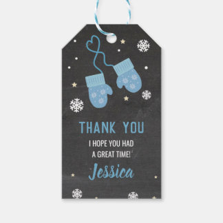 Birthday Party Thank You Tags Mittens Blue Cold