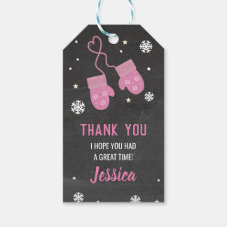 Birthday Party Thank You Tags Mittens Pink Cold