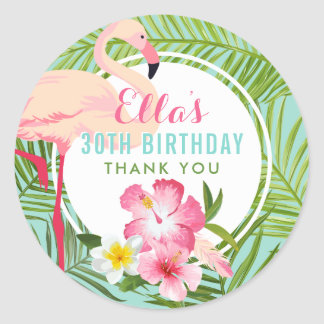 Birthday Party | Tropical Flamingo Thank You Classic Round Sticker