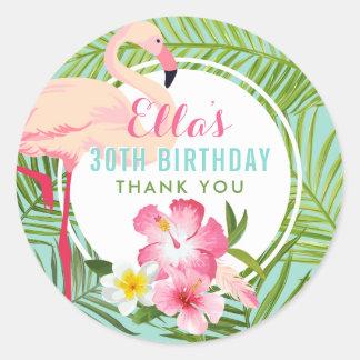 Birthday Party | Tropical Flamingo Thank You Round Sticker