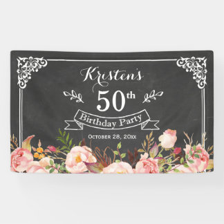 Birthday Party - Vintage Chalkboard Rustic Floral Banner